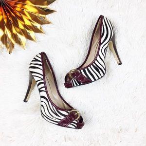 Steve Madden Zebra Print Peep Toe Heels
