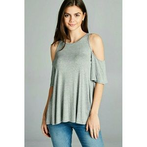 Tops - HEATHER GREY SHORT SLEEVE COLD SHOULDER TOP S-M-L