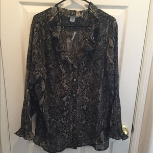 Tops - SNAKE PRINT CREPE BUTTON DOWN  BLOUSE