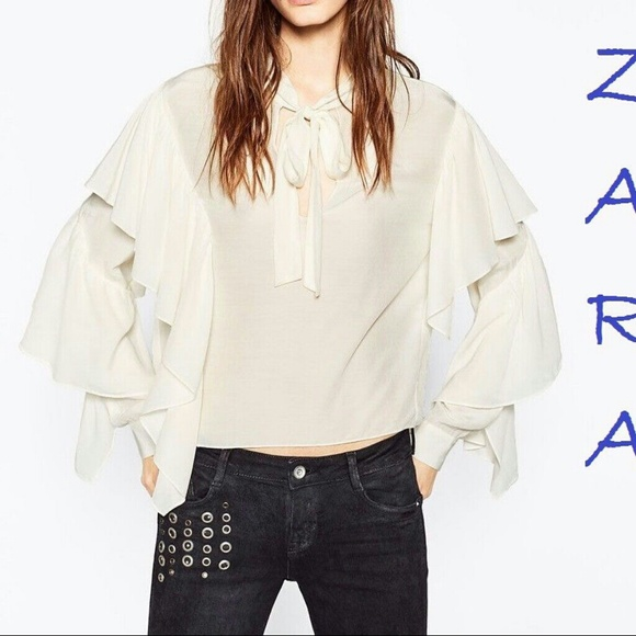 d9c90f25a55 ZARA New Tie-up White Blouse Ruffle Long Sleeve Boutique