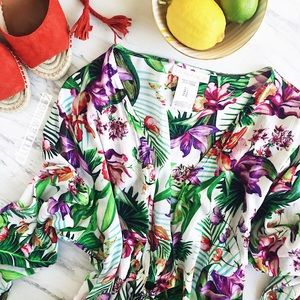 La Blanca Other - Tropical print front tie cover-up romper