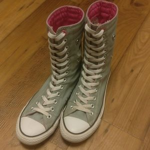 Converse Shoes - Grey and Pink X High Top Converse