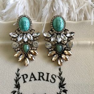"Bedecked & Bedazzled Jewelry - ""Maya"" Turquoise Statement Earrings"