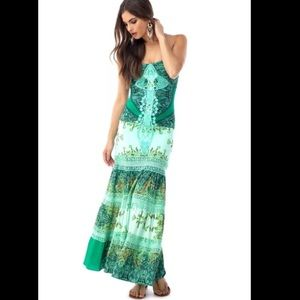 Sky green Amina Lace maci dress size large new