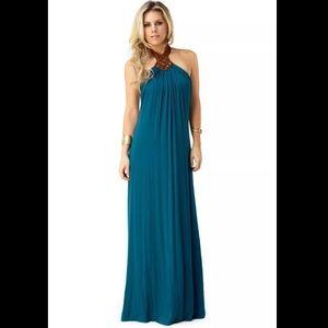 Sky Palma teal halter maxi dress size small new