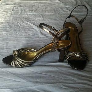 Etienne Aigner gold high heels