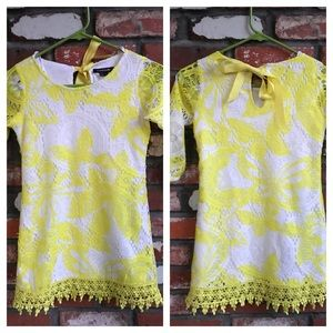 My Michelle Other - Girls yellow and white lace dress