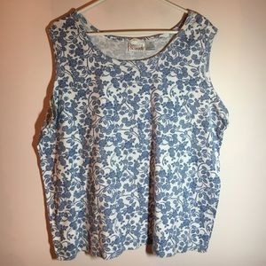 Adorable blue and whit Flowered tank size 2X