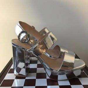 HM Leathercraft Shoes - Silver Metallic Platforms HM