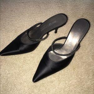 Sergio Rossi Shoes - Sergio Rossi black mules w/brown & black stones