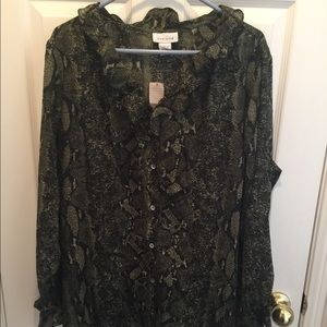 Tops - SNAKESKIN PRINT  CREPE BUTTON DOWN BLOUSE