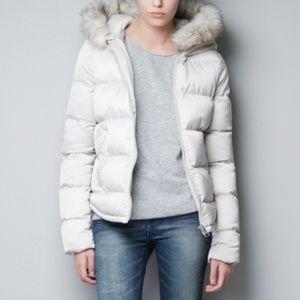 Zara Puffer Jacket with Fur Hood in Cream