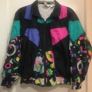 American Vintage Jackets & Blazers - 80's windbreaker jacket neon black vintage 70s