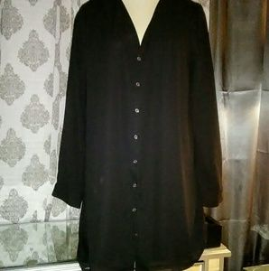 Forever 21 Dresses & Skirts - Black button up dress XL excellent condition