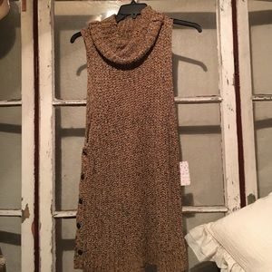 Free People cowl neck crocheted mini dress.