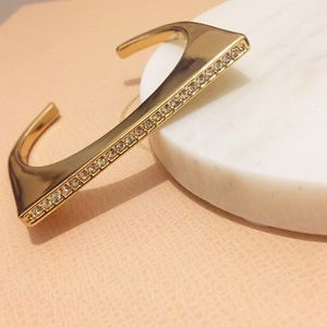 Banana Republic Gold Plated Pave Cuff - S/M