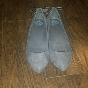 Fergalicious Shoes - Fergalicious Pointed Grey Suade Ballet flats