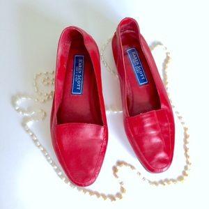 Karen Scott Shoes - Vintage Red Leather Loafers By Karen Scott.