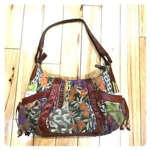 Fossil Handbags - Fossil hobo multicolor leather fabric 75082