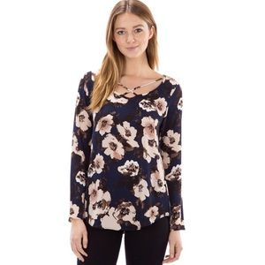 Tops - Floral Print Front Criss Cross Too