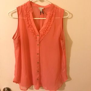 Sheer coral blouse perfect for the summer.