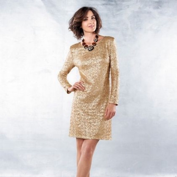 Coldwater Creek Plus Size 16 Gold Sequin Dress
