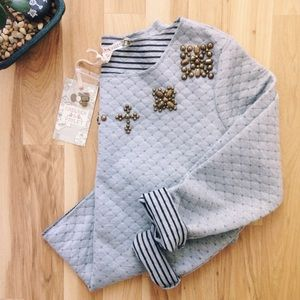 Chelsea & Violet Sweaters - NWT Quilted Sweater with Beadwork