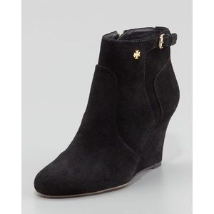Tory Burch Shoes - Tory Burch - Milan - Suede Wedge Bootie in Black