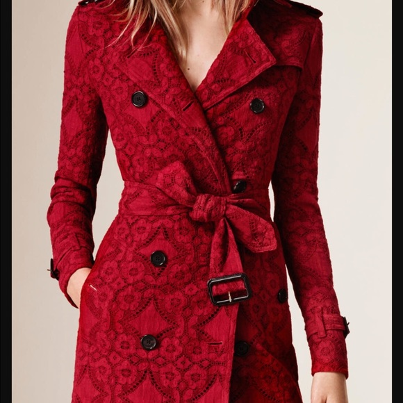 0e813a5a8d1 Burberry trench coat red lace.