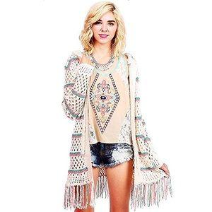 Love Stitch Sweaters - Coachella ready! Lovestitch Boho fringe cardigan