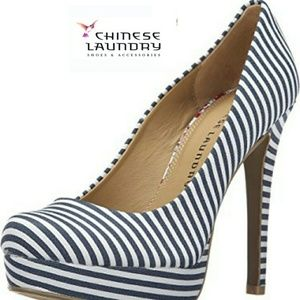 Chinese Laundry Shoes - Navy Stripe Heel