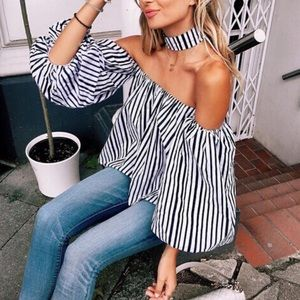Lulupie Tops - Off Shoulder striped top with Choker