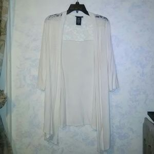 Metaphor Tops - Cream Cardigan with lace top