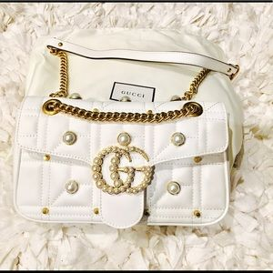 Handbags - GG Marmont Pearly Shoulder Bag (White)