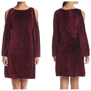 Adrianna Papell Dresses & Skirts - Adrianna Papell Velvet Cold Shoulder Sheath Dress