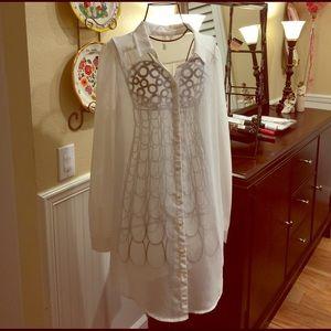 Frenchi Tops - Frenchi long-sleeve sheer shirt dress