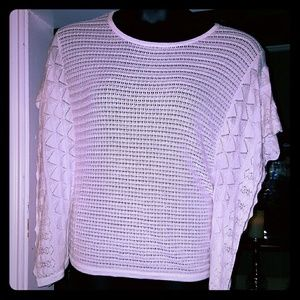 Angie Tops - Women's boutique knitted cream blouse.