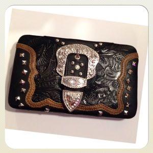 NWT Vegan Leather, Buckle Clutch Wallet