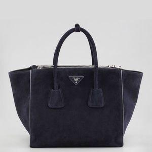 Prada Handbags - PRADA Suede Glacé Calf Leather Twin Pocket Tote