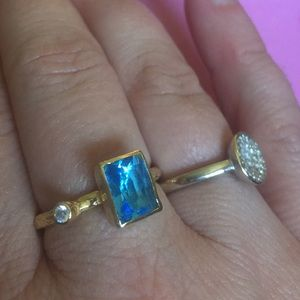 Topaz ring 22ct plated handmade size 9