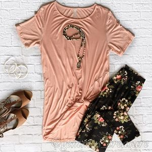 || SALE | Pink Side Knot Tunic Tee || S, M, L ||