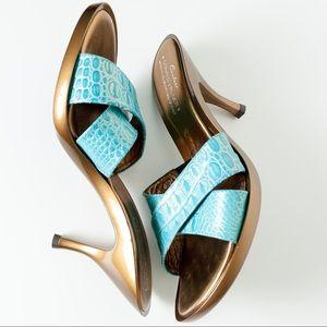 "Donald J. Pliner Shoes - Donald J Pliner Couture ""Ona"" Blue Gold Metallic"