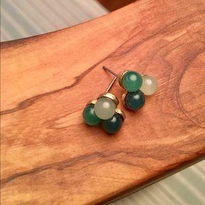 Green Stone Cluster Stud Earrings