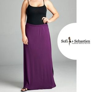 Sofi + Sebastien  Dresses & Skirts - PLUS French Terry maxi skirt violet new side slits