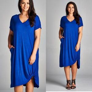 Sofi + Sebastien  Dresses & Skirts - PLUS twisted hem dress pockets new royal blue
