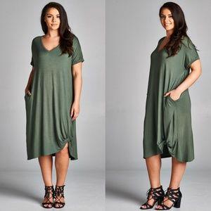 Sofi + Sebastien  Dresses & Skirts - PLUS twisted hem dress pockets new olive green