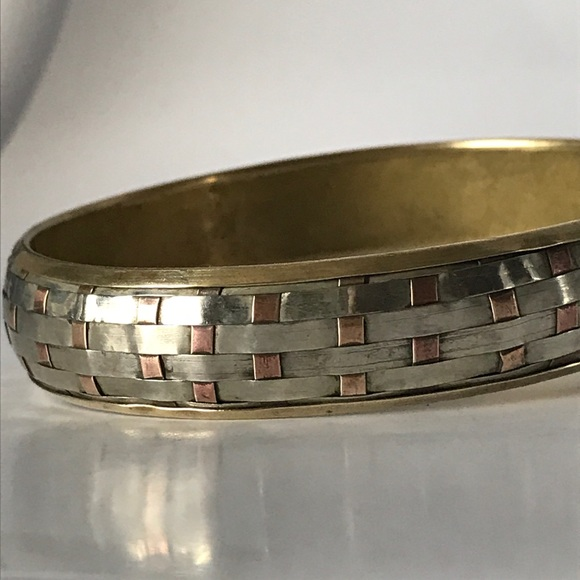 Vintage Jewelry - Vintage Artisan Sterling copper brass bangle weave