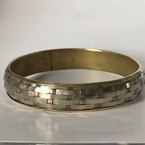 Vintage Jewelry - Vintage Sterling silver copper brass bangle weave
