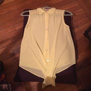 NWOT yellow sheer tie at the waist tank.