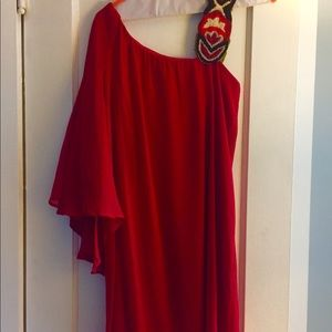 Judith March Dresses & Skirts - One shoulder red dress.